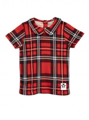 Red Check aop collar tee