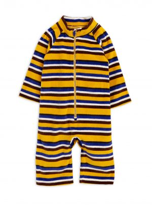 Velour stripe onesie