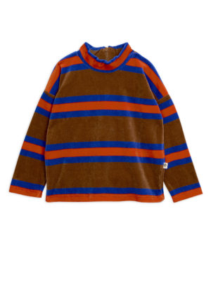 Velour stripe sweatshirt