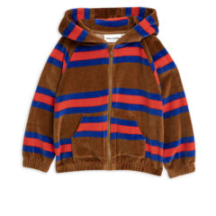 MiniRodini Velour stripe zip hoodie