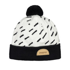 POM POM WOOL BEANIE MULTICOLOR WINDY DAY knit Cream, Black