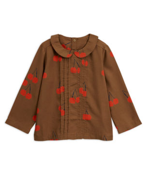 Cherry woven pleat blouse BROWN