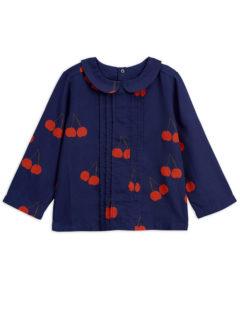 Cherry woven pleat blouse BLUE