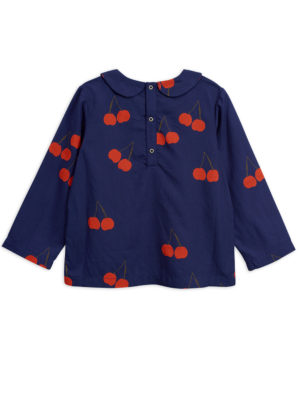 Cherry woven pleat blouse BLUE