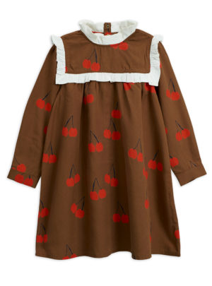 Cherry woven frill dress BROWN