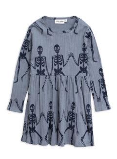 Skeleton aop ls dress BLUE