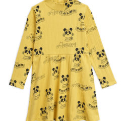 Mozart aop ls dress, Yellow