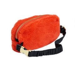 Faux fur bum bag, Red