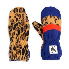 Fleece mittens stripe, Blue