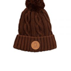 Cable knitted pompom hat, Brown