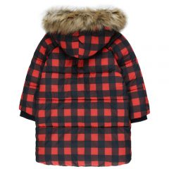 Check padded jacket, Navy/red