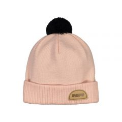 Pom Pom Wool Beanie, Powder Peach/Black, XS/S