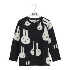 Knit Cardigan, Best Bunnies Forever, Black/Cream