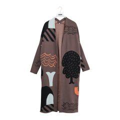 Knit Long Cardigan Adult, Jacquard Beyond, Vole grey/black/hot coral/aqua