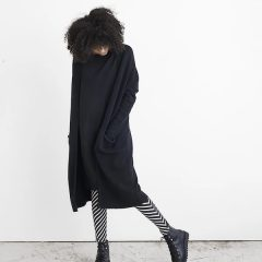 Long Split Cardigan Adult Knit, Black